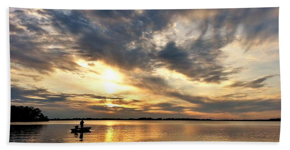 Sunset Hand Towel featuring the photograph Fishing At Sunset by Mandy Frank