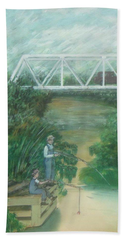 Pump House Fishing Bridge White Oak Creek Sardinia Ohio Hand Towel featuring the painting Fishing At The Pump House On White Oak Creek by Frank Hunter