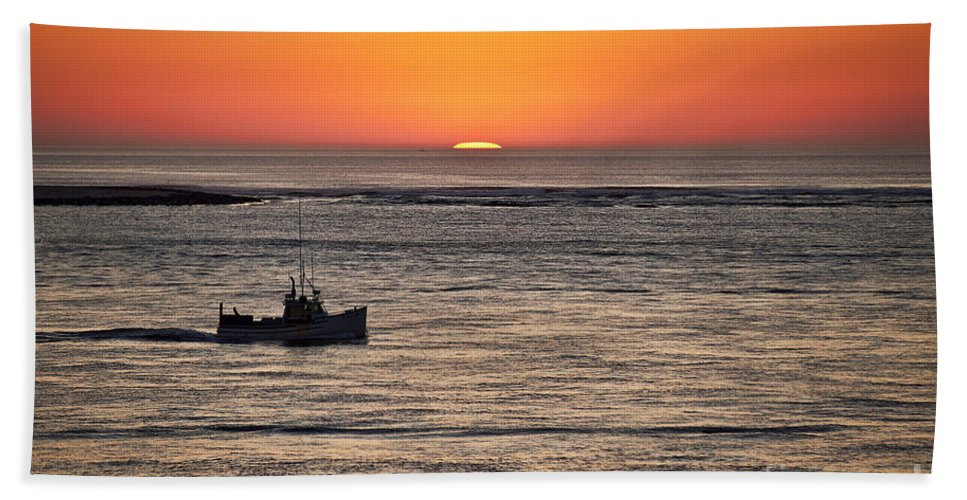 Cape Cod Hand Towel featuring the photograph Fishing Boat At Sunrise. by John Greim