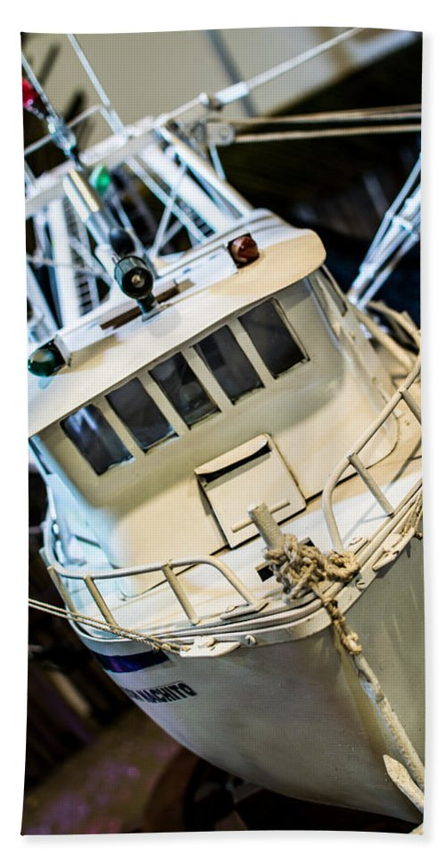 Fishing Boat Hand Towel featuring the photograph Fishing Boat by Totto Ponce