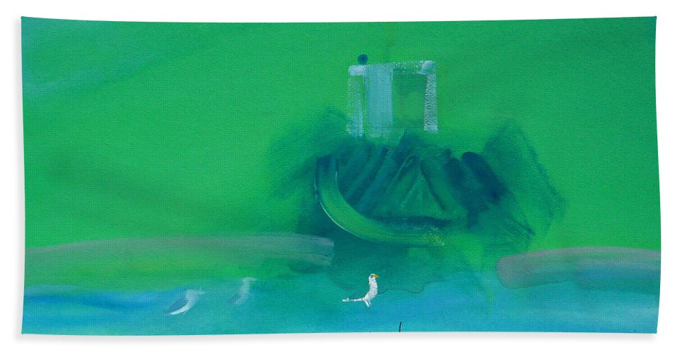Fishing Boat Bath Towel featuring the painting Fishing Boat With Seagulls by Charles Stuart