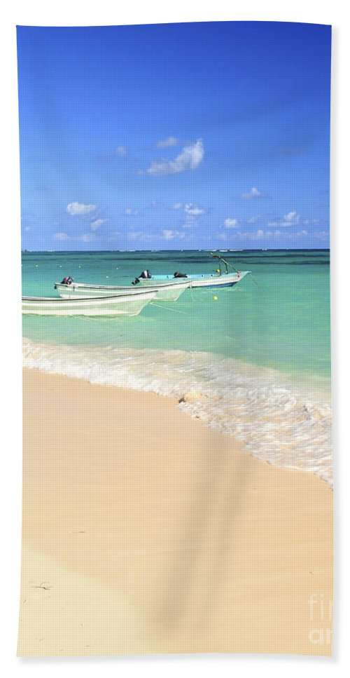 Beach Hand Towel featuring the photograph Fishing Boats In Caribbean Sea by Elena Elisseeva