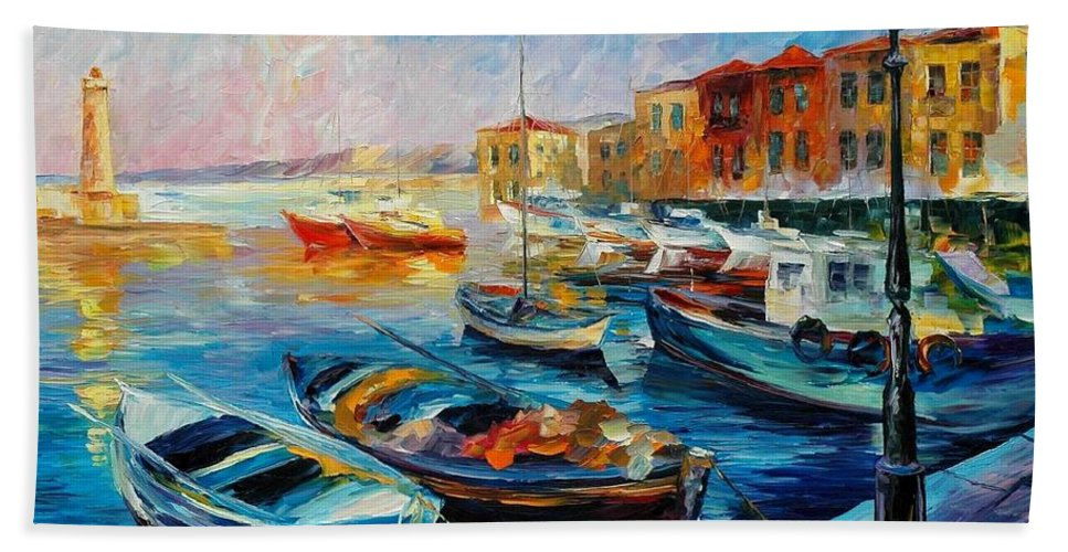 Afremov Hand Towel featuring the painting Fishing Boats by Leonid Afremov
