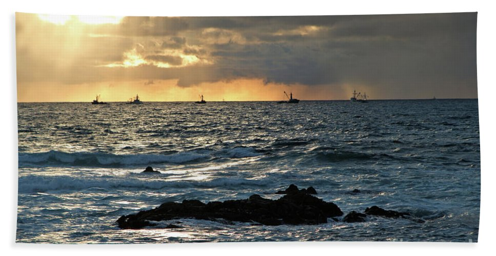 Fishing Boats Hand Towel featuring the photograph Fishing Boats Off Point Lobos by Charlene Mitchell
