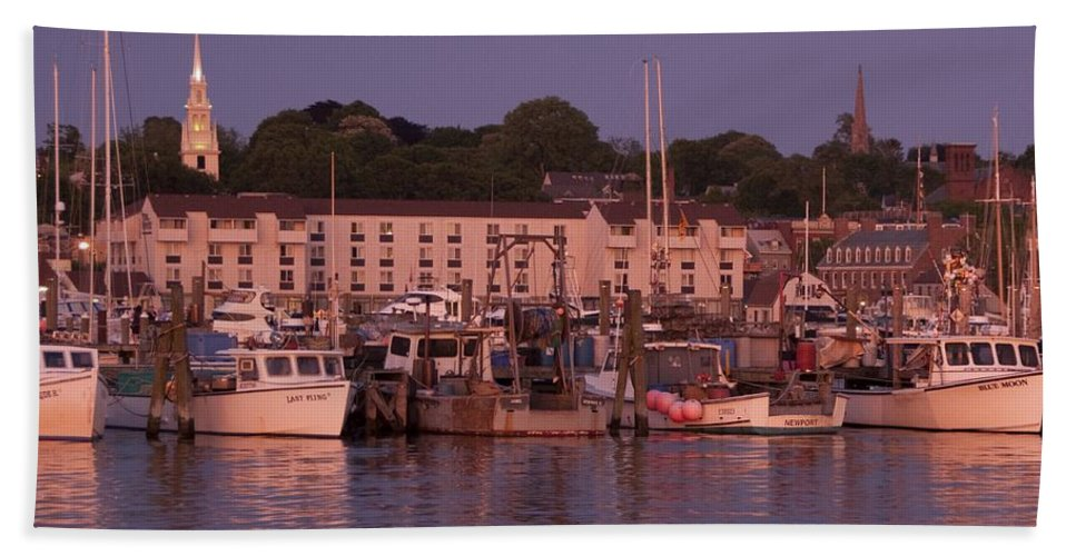 Sunset. Newport Bath Sheet featuring the photograph Fishing Boats by Steven Natanson