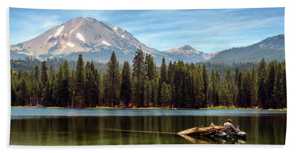 Mount Lassen Bath Sheet featuring the photograph Fishing By Mount Lassen by James Eddy