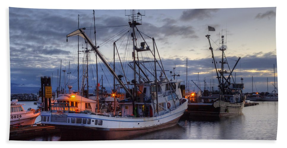 Fishing Boats Hand Towel featuring the photograph Fishing Fleet by Randy Hall