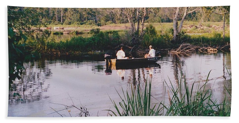 Water Hand Towel featuring the photograph Fishing In The Bayou by Michelle Powell