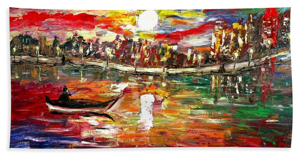 Art Bath Towel featuring the painting Fishing In The Moonlight by Luiza Vizoli