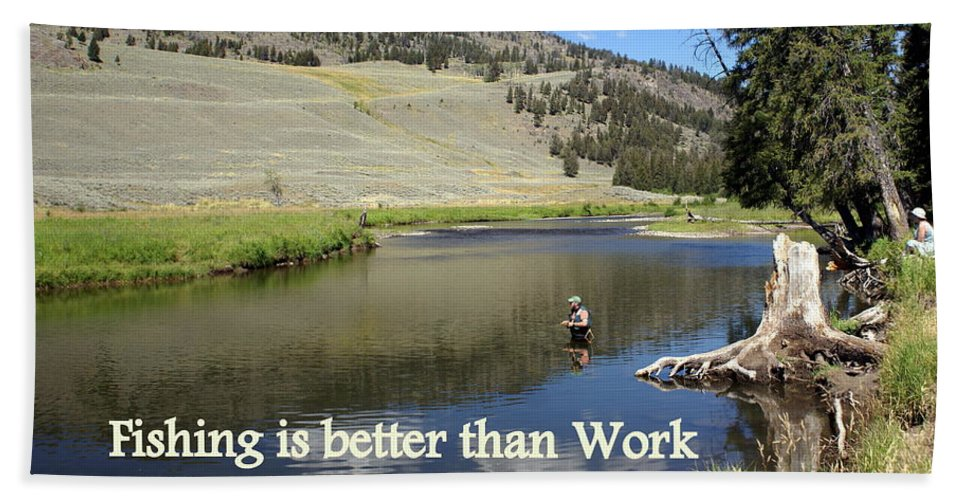 Photo Greeting Card Hand Towel featuring the greeting card Fishing Is Better Than Work by Marty Koch