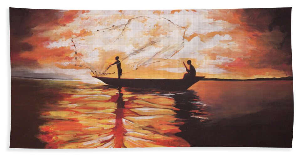 African Fishermen Hand Towel featuring the painting Fishing by Jethro Longwe