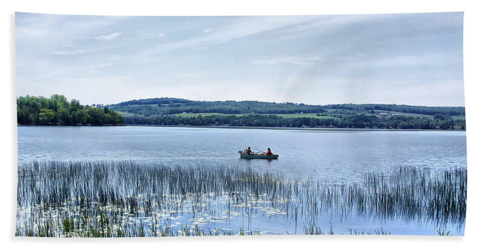 Lake Hand Towel featuring the photograph Fishing On Lake Carmi by Deborah Benoit