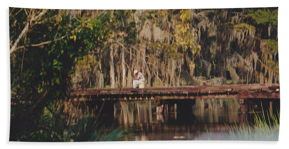 Landscape Hand Towel featuring the photograph Fishing On The Bridge by Michelle Powell
