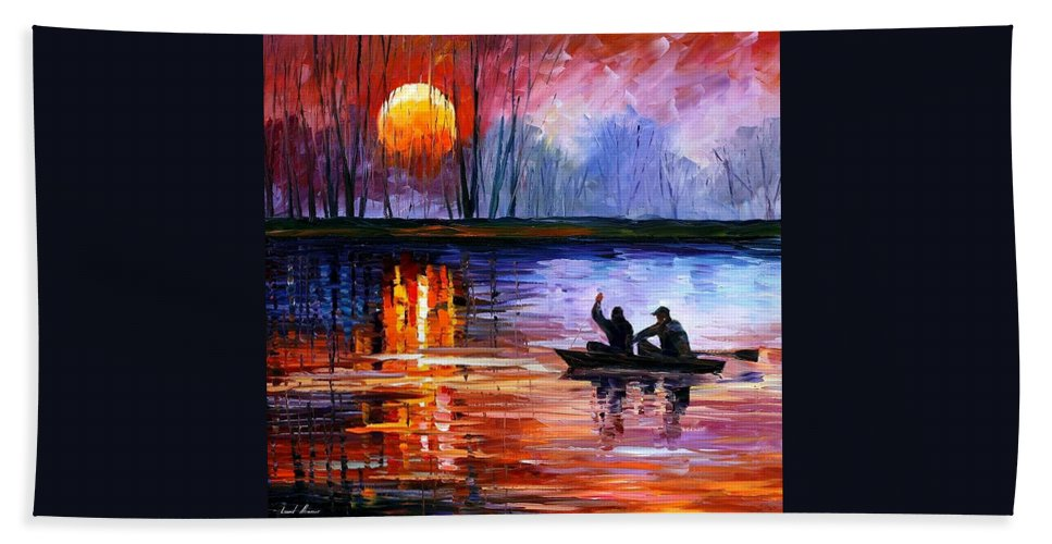 Seascape Hand Towel featuring the painting Fishing On The Lake by Leonid Afremov