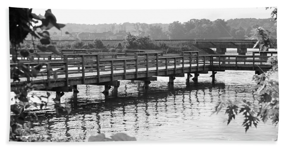 Landscape Hand Towel featuring the photograph Fishing Pier And Train Tracks by Todd Blanchard