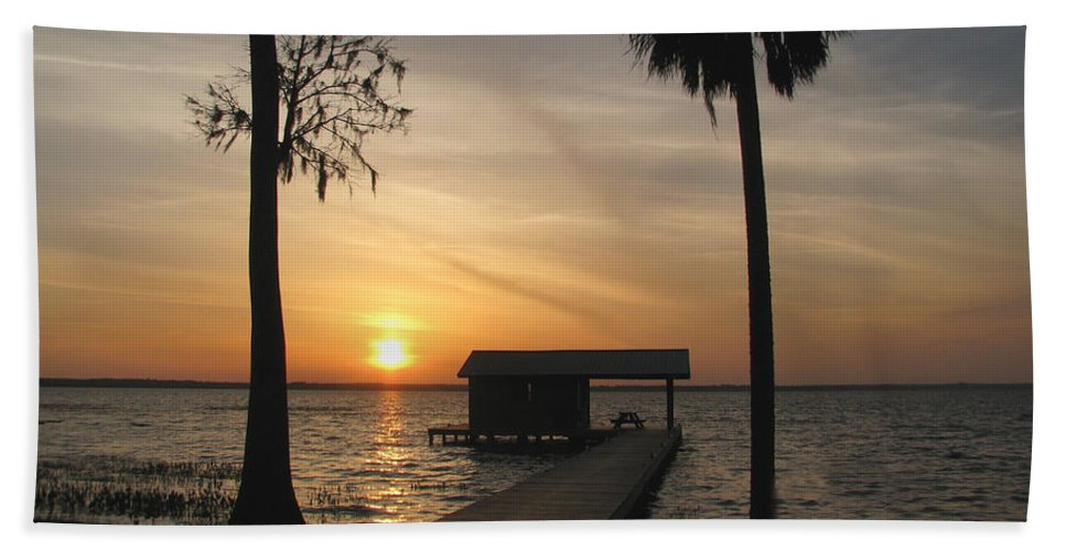 Landscape Bath Sheet featuring the photograph Fishing Pier at Dusk by Peggy Urban