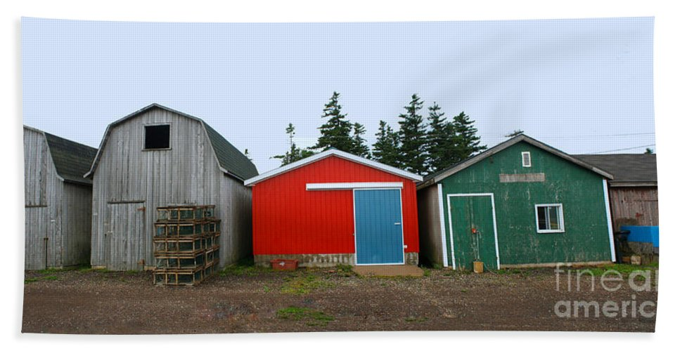 Fishing Hand Towel featuring the photograph Fishing Shacks Prince Edward Island Canada by Thomas Marchessault
