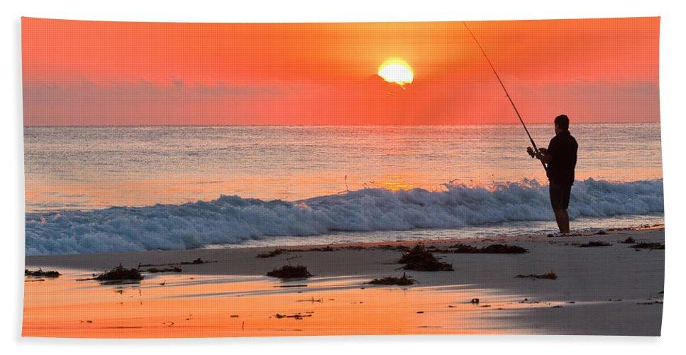 Beach Bath Sheet featuring the photograph Fishing The Golden Dawn by Michael Hodgkins