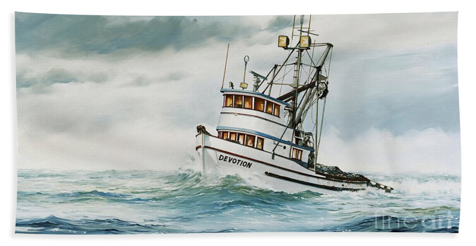 Fishing Vessel.fishing Vessel Fine Art Print Bath Sheet featuring the painting Fishing Vessel Devotion by James Williamson