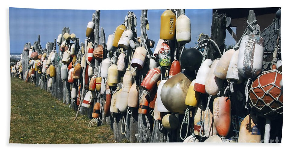 Buoys Bath Sheet featuring the photograph Fishing Village by David Lee Thompson