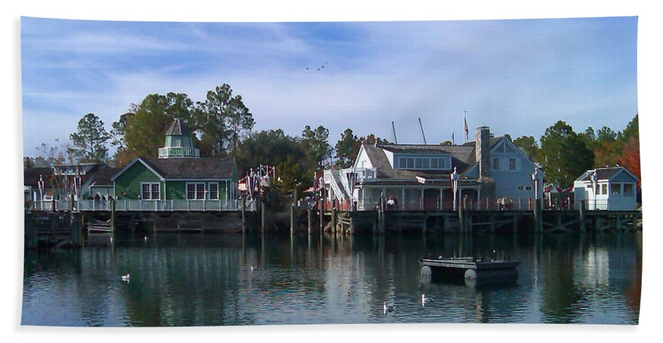 Pat Turner Hand Towel featuring the photograph Fishing Village by Pat Turner