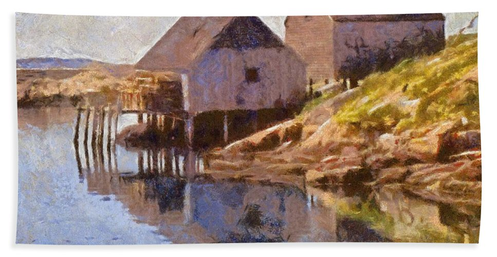 Canadian Bath Sheet featuring the painting Fishing Wharf by Jeffrey Kolker