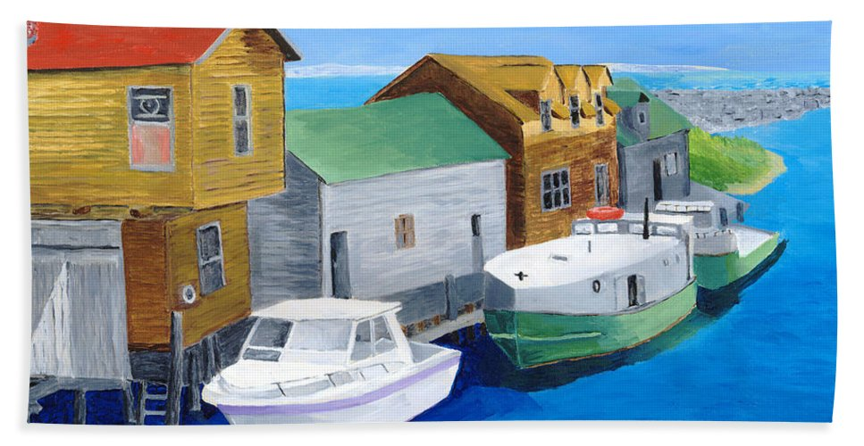 Fishtown Bath Towel featuring the painting Fishtown by Rodney Campbell