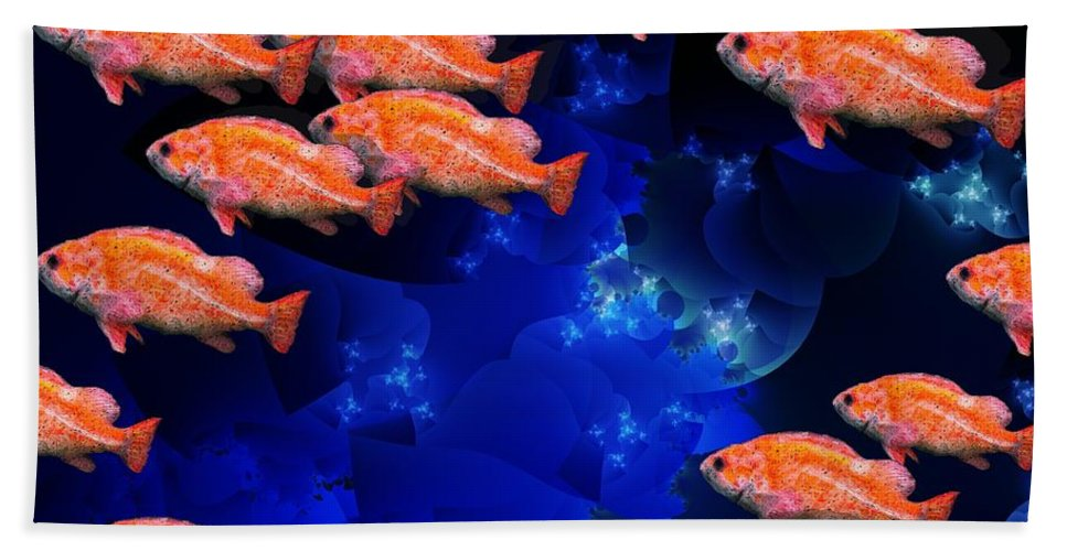 Fish Art Hand Towel featuring the digital art Fishy by Ron Bissett