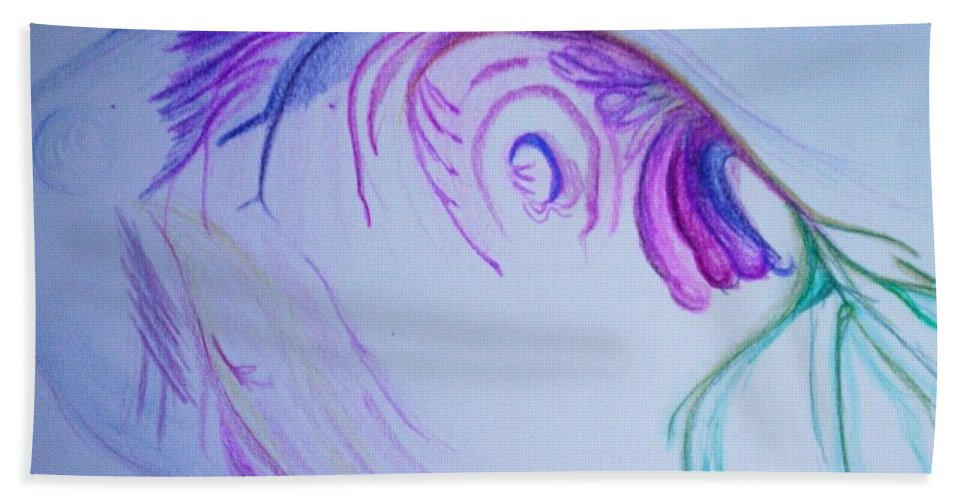 Abstract Painting Bath Sheet featuring the painting Fishy by Suzanne Udell Levinger