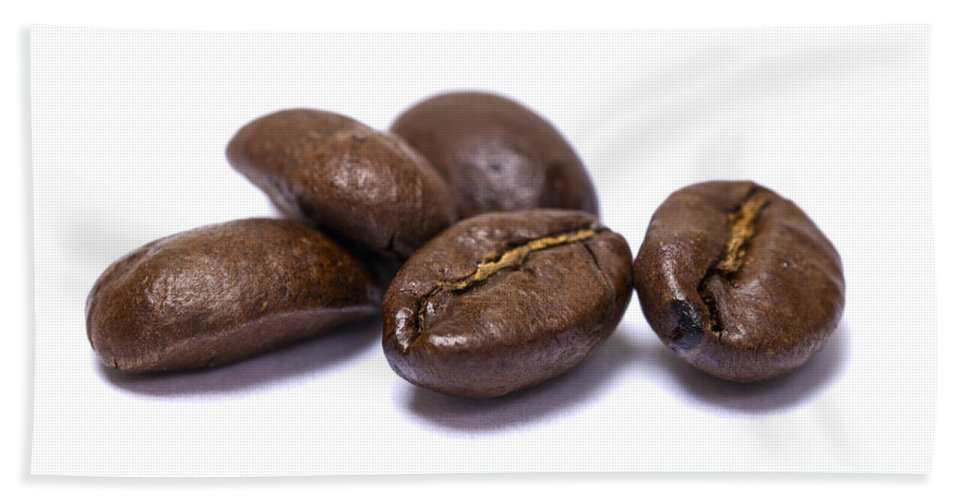 Coffee Hand Towel featuring the photograph Five Coffee Beans Isolated On White by Donald Erickson