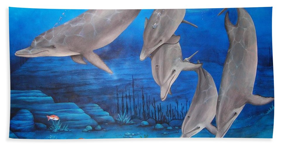 Dolphin Hand Towel featuring the painting Five Friends by Cindy D Chinn
