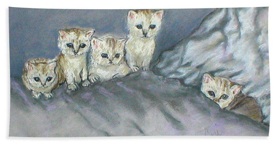 Cats Bath Sheet featuring the drawing Five Kitties by Cori Solomon