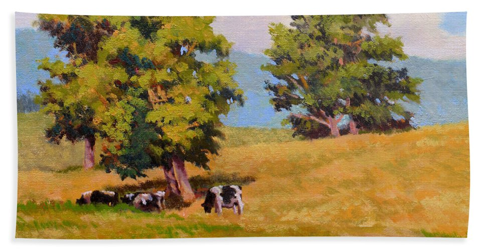 Landscape Hand Towel featuring the painting Five Oaks by Keith Burgess