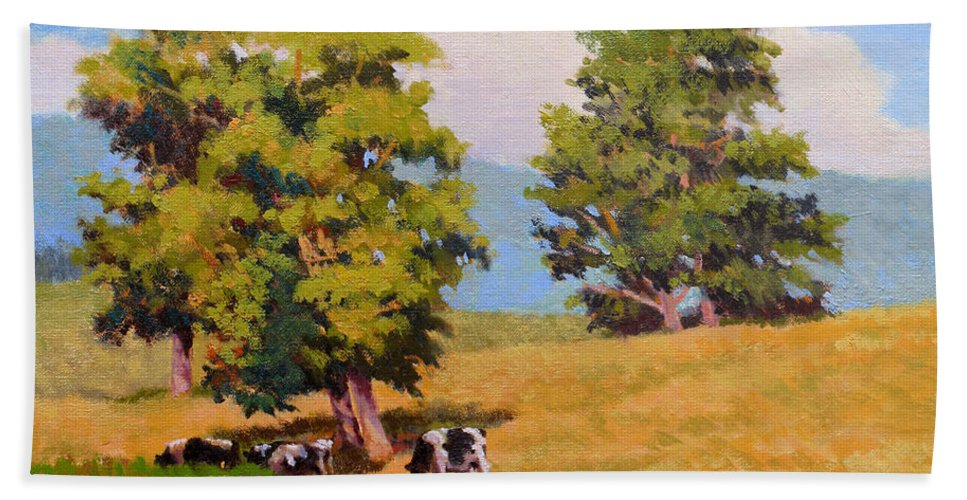 Landscape Bath Towel featuring the painting Five Oaks by Keith Burgess