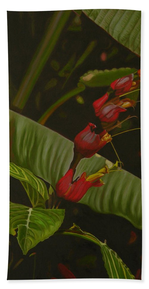Floral Hand Towel featuring the painting Five Red by Thu Nguyen