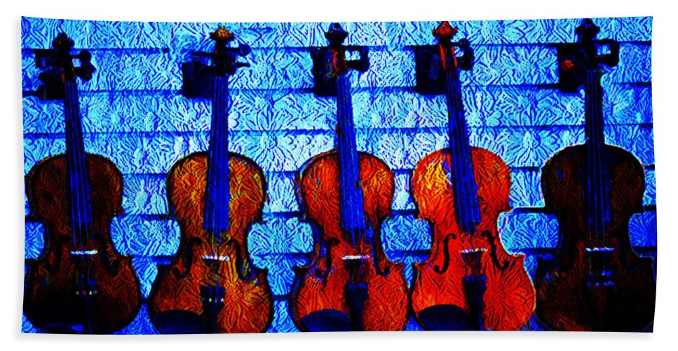 Fiddle Bath Sheet featuring the photograph Five Violins by Bill Cannon