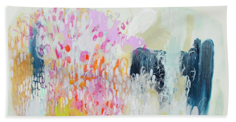 Abstract Hand Towel featuring the painting Fizz by Claire Desjardins