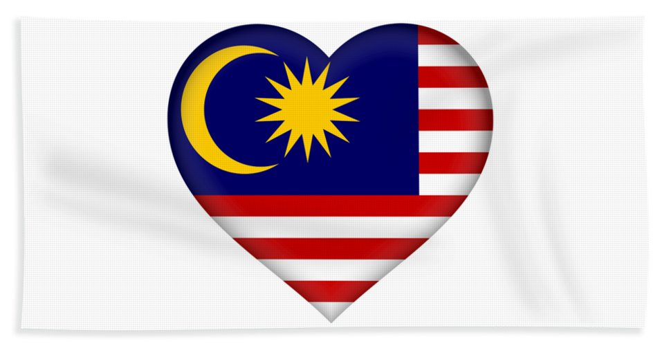 Malaysia Hand Towel featuring the digital art Flag Of Malaysia Heart by Roy Pedersen