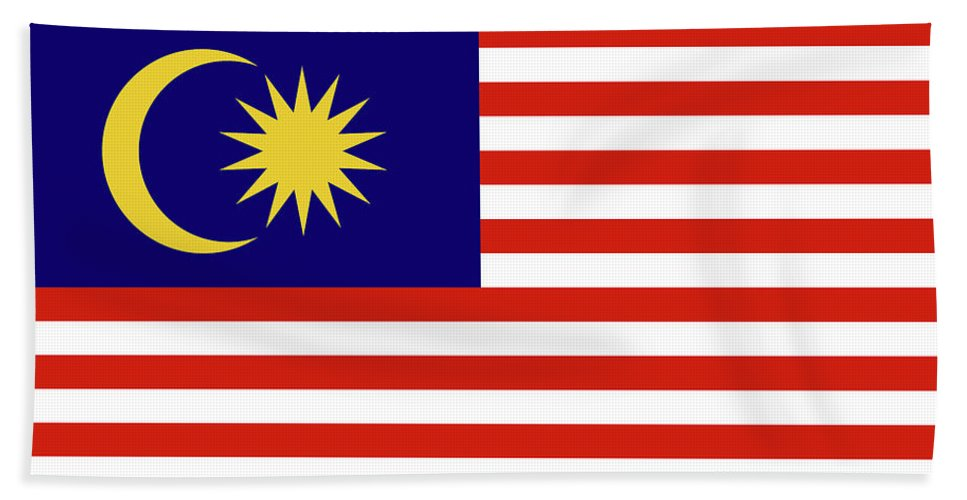 Asia Hand Towel featuring the digital art Flag Of Malaysia. by Roy Pedersen