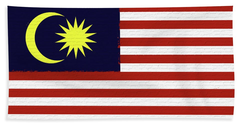 Asia Hand Towel featuring the digital art Flag Of Malaysia Wall. by Roy Pedersen