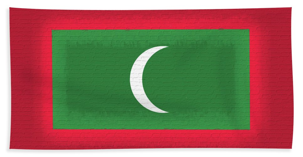 Asia Hand Towel featuring the digital art Flag Of The Maldives Wall. by Roy Pedersen
