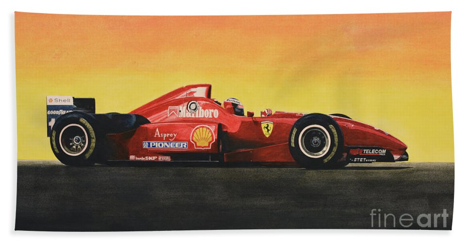Formula One Hand Towel featuring the painting Flag by Oleg Konin
