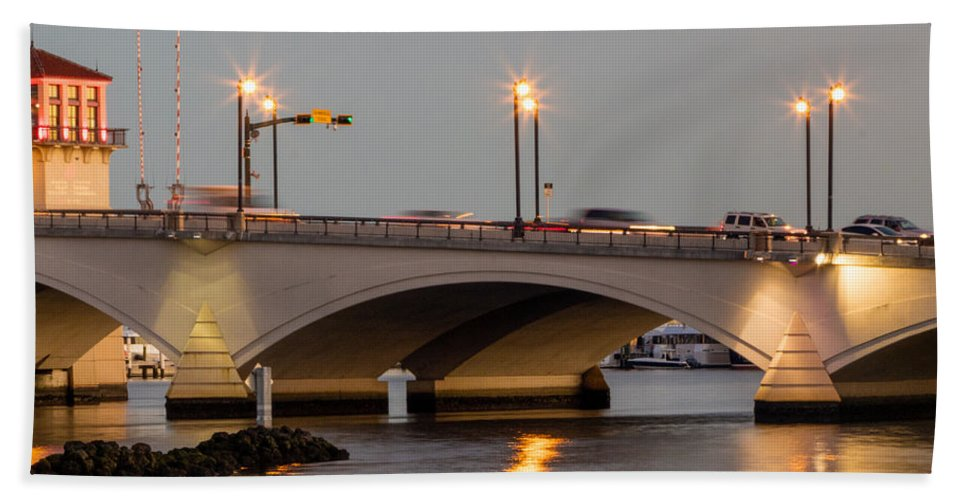 Boats Bath Sheet featuring the photograph Flagler Bridge In Lights Iv by Debra and Dave Vanderlaan