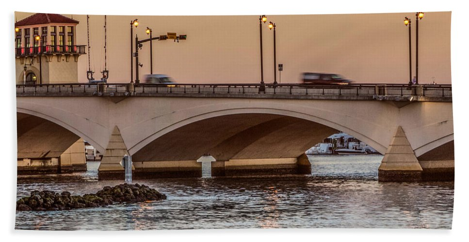 Boats Bath Sheet featuring the photograph Flagler Bridge In The Evening IIi by Debra and Dave Vanderlaan