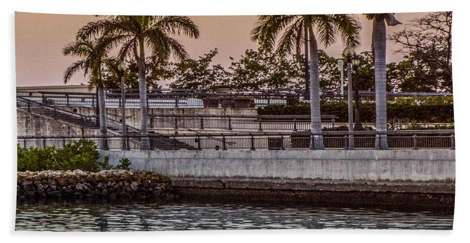 Boats Bath Sheet featuring the photograph Flagler Bridge In The Evening V by Debra and Dave Vanderlaan