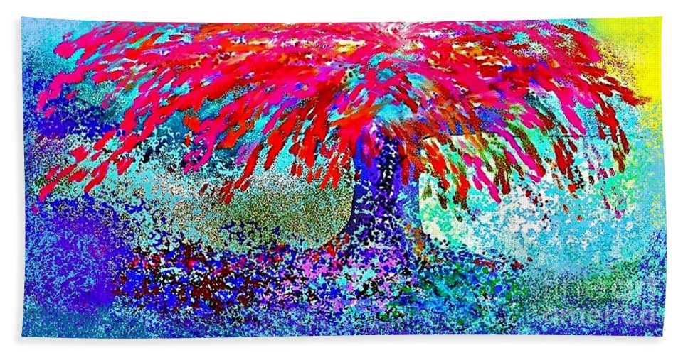 Landscape Hand Towel featuring the painting Flamboyan by The Art of Alice Terrill