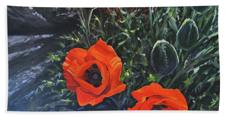 Poppy Bath Towel featuring the painting Flame of the West by Hunter Jay
