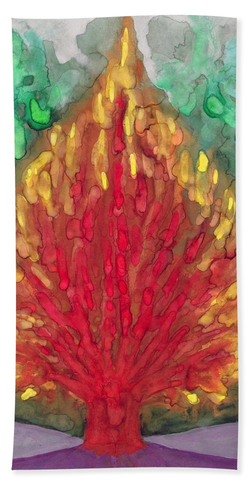 Colour Bath Sheet featuring the painting Flame by Wojtek Kowalski