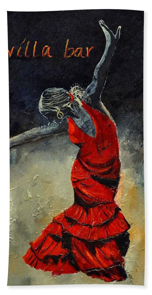 Flamenco Hand Towel featuring the painting Flamenco 18 by Pol Ledent