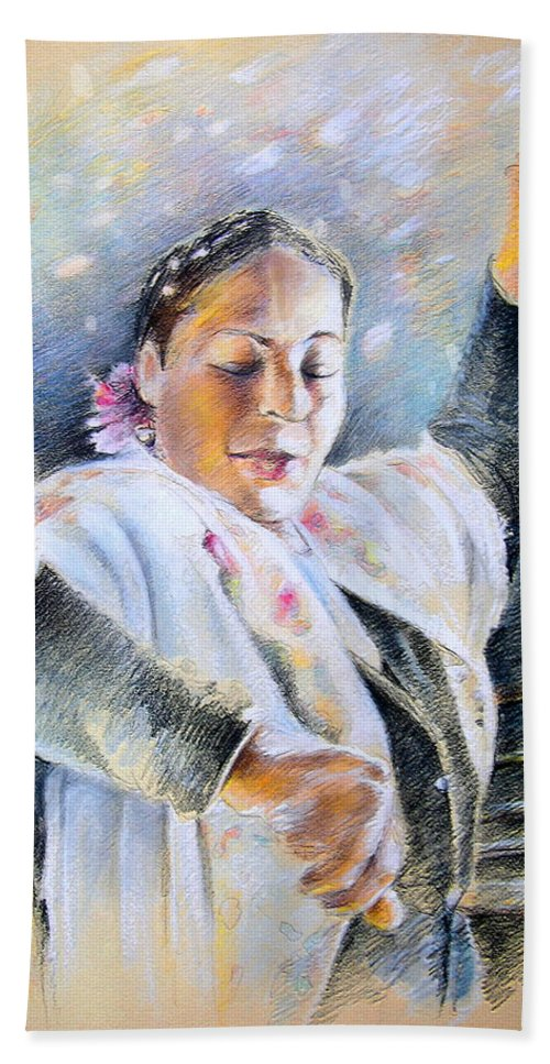 Music Hand Towel featuring the painting Flamenco Dancer by Miki De Goodaboom